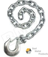 "(2) 35"" SAFETY CHAIN 3/8"" SLIP HOOK CLIP TRAILER HEAVY DUTY TOWING AUTO PULL 145"