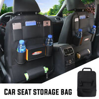 Car Seat Back Multi-Pocket Leather Storage Bag Organizer Holder Accessory Black
