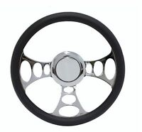 Chrome & Black Leather Steering Wheel for Ford Cars, Trucks w/ GM-style Columns