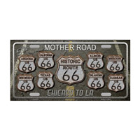 Route 66, Travel Destinations, Scenic Novelty Metal License Plate Tag Wall Decor