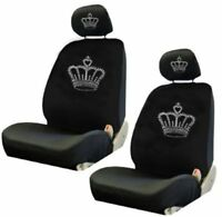 Bright White Crown Jewelry Crystal Studded Rhinestone Car Low Back Seat Covers