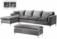 Glamorous Grey Sectional Sofa Reversible Chaise Living Room Home Furnishings