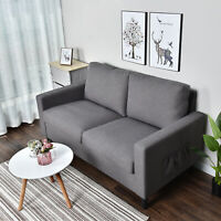 Living Room Sofa Couch Upholstery Loveseat Linen Fabric Seat Home Furniture Gray