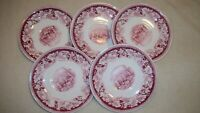 Homer Laughlin Currier & Ives Red  Saucers
