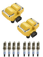 Yellow ignition Coil with Motorcraft Spark Plug for Lincoln Town Car Continental