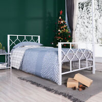 Twin Size Bed Frame Metal Platform Bed Firmly Wood Slat Supported Bed Structure