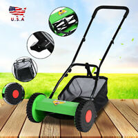 Hand Push Adjustable Reel Manual Lawn Mower With Grass Catcher 5-Blade Classic