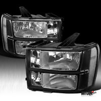 2007-2013 GMC Sierra 1500 2500 3500 HD Denali Pickup Black Headlights Left+Right