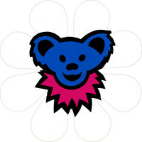 11331 Blue Bear Pink Necklace on White Daisy Flower Animal Hippie Sticker Decal