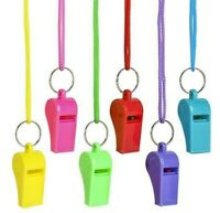 6 Neon Plastic Whistle & Lanyard Emergency Survival, Party's