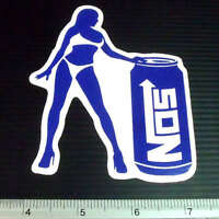 NOS Nitrous Oxide System Girl Car Racing Sticker Reflective Decal 3.25x4