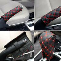 Popular 2 Pcs/Set Car Leather Hand Brake & Gear Shift Case Interior Accessories