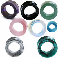 Ear Gauges Organic Stone Ear Plugs Hollow Centered Tunnels Double Saddle beveled