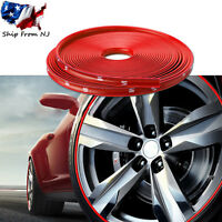 26FT Red Car Wheel Hub Rim Trim Tire Ring Guard Rubber Strip Protector Decor