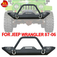 For 1987-2006 Jeep Wrangler TJ YJ textured Front Bumper W/Winch Plate+D-ring