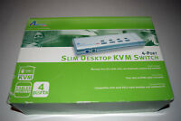 4-Port Slim Desktop KVM Network Switch AKVM-4 AirLink 101 New in Box