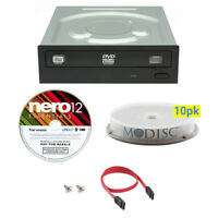 LITE-ON 24X DVD Internal Burner+FREE 10pk MDisc DVD+Nero+ SATA Cable for Desktop