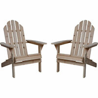 Fir Wood Unfinished Outdoor Backyard Furniture Adirondack Chairs - Twin 2-Pack
