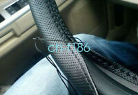 US PU Leather Car Steering Wheel Cover Black Auto Car Universal Fit DIY