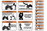 FUNNY WARNING DECAL ATV QUAD STICKERS YAMAHA YFZ450, LTR450,HONDA 400EX 16 PACK!