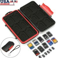 Red Memory Card Storage Carry Waterproof Shockproof Case Holder For CF/SD/TF