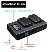 NP-FW50 Camera Battery Charger LCD Display Dual USB Charger for Sony A6000 A6500