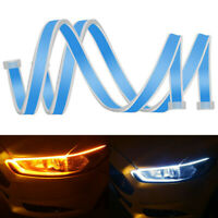 2pcs 60CM Auto Lamps LED Car Headlight Strip Light DRL Slim Flexible Turn Signal