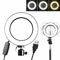 8inch Dimmable LED Ring Light Kit w/ USB Cable For Makeup Phone Camera Selfie