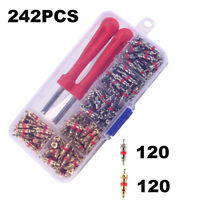 242pcs Copper R134A Valve Cores + Remover Tool Kit Fits Car A/C Air Conditioning