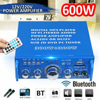 600W Amplifier HIFI Audio Stereo Bluetooth Digital Radio FM 2 Channel Car Home