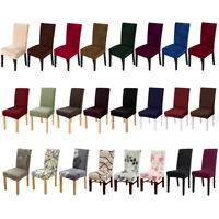 1/4/6pcs Stretch Spandex Dining Chair Seat Covers Jacquard Velvet Printed Solid