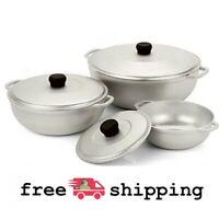 Natural Cast Aluminum Caldero with Lid 3 Piece Set Home Kitchen Cookware Silver