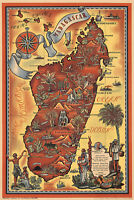 Madagascar Mid-century Pictorial Map Wall Art Poster Print Home Office Decor