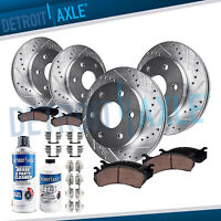 Front & Rear DRILLED Brake Rotor + Ceramic Pad 2005 2006 - 2008 Ford F-150 4X4