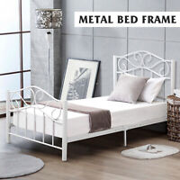 Twin Size Metal Bed Frame Mattress Foundation w/ Headboard and Footboard White
