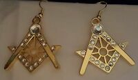 Gold Square & Compass Earrings with stones Masonic