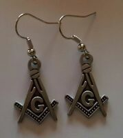 Square and Compass with G earrings  Antique Silver Masonic