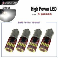 4pc White Car Light T11 BA9S 57 LED Chip T4W H6W 6253 Canbus Error free Bulb