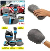 9 X Durable Car Cleaning Kit Car Polished Wax  Pads  Washer Sponge Towels Brush
