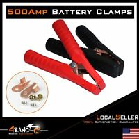 Pair Car Battery Clamp Clip Chargers Jump Starter Jumper Cable Red