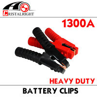 Pair Battery Charger Clamps Jumper Cable Jump Starter Booster Heavy Duty 1300Amp