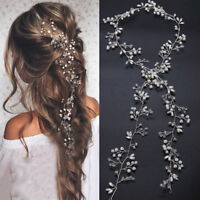 New 35cm Pearl Wedding Hair Vine Crystal Bridal Accessories Diamante Headbands