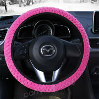 Soft Warm Plush Winter Car Steering Wheel Covers Automotive Accessories PINK