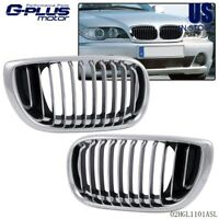Chrome Front Hood Kidney Sport Grilles Grill For 02 - 05 BMW 3 Series E46 4 Door
