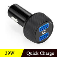 39W 3A Dual Port Fast Charging USB 3.0 Car Charger 12V/24V For Mobile Phone