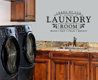 LAUNDRY ROOM VINYL WALL DECAL WASH DRY FOLD REPEAT HELP NEEDED LETTERING STICKER