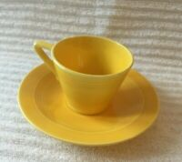 Harlequin Yellow Demitasse Cup Saucer Vintage Homer Laughlin Demi Espresso cup