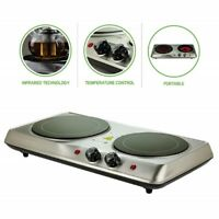 Countertop Cooktop, 2 Infrared Burners, Ceramic Glass Plates Portable 1700 Watts