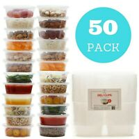 8 oz Plastic Food Storage Containers with Lids - Restaurant Deli Cups (50 pack)