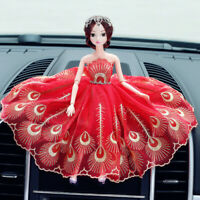 Red Peacock Feather Wedding Dress Cute Dolls Car Accessories Interior Decoration